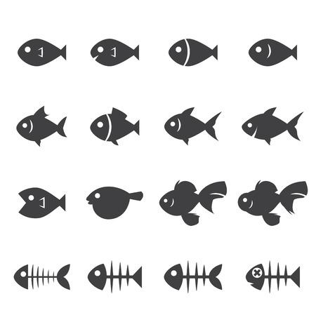 puffer fish: fish icon set