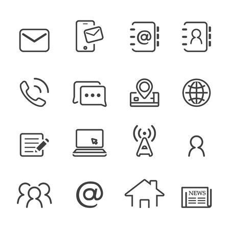 Contact pictogram set.line vector.