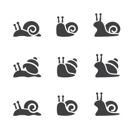 snail icon set Ilustrace