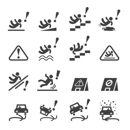 occupational risk: slippery icons set