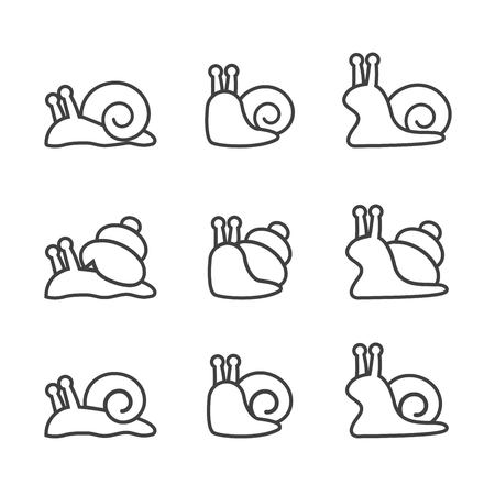 gastropod: snail icon set.line vector.