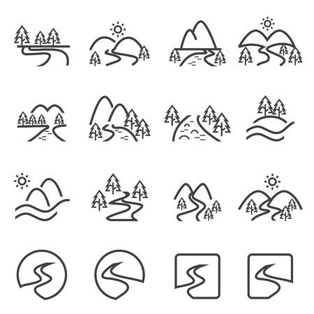 hills: river icon set.vector eps10.