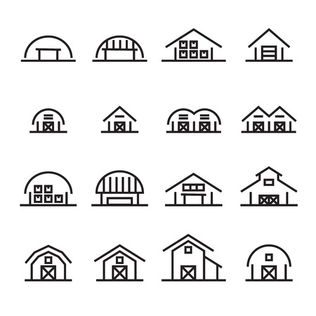 hangar and barn line icon