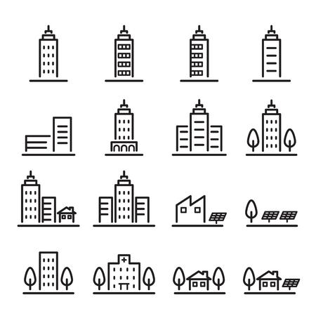 building icon set.line vector.
