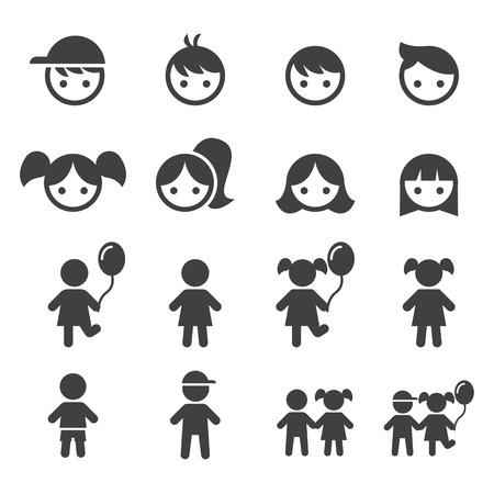 girl and boy icon set