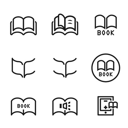 videobook: book icon set.line vector.
