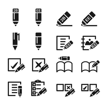pencil and pen icon set