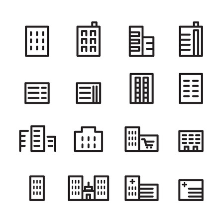 building line icon set Ilustrace