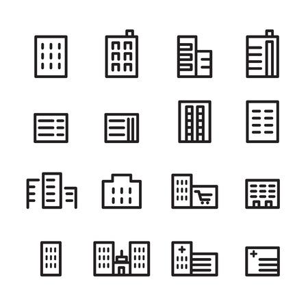 building line icon set Illustration
