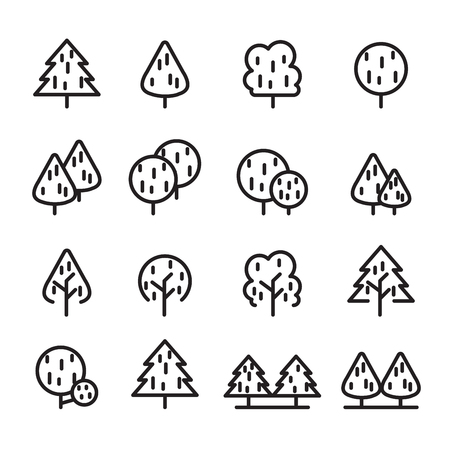 tree line icon set Illustration