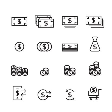 money line icon set Illustration