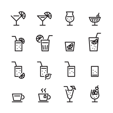 drink line icon set