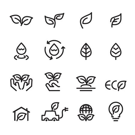 eco line icon set Ilustrace