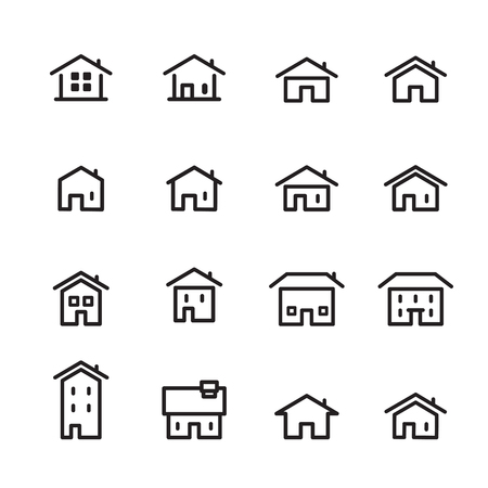 house line icon set