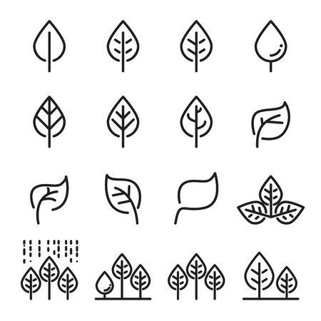 leaf line icon set Ilustrace