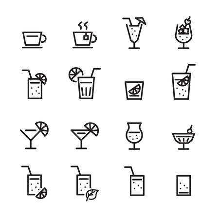 Drink line icon set. Ilustrace