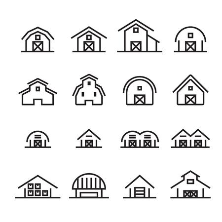 Hangar and barn line icon.