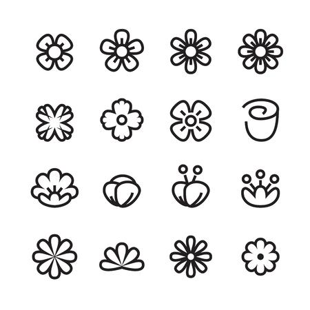 flower line icon set