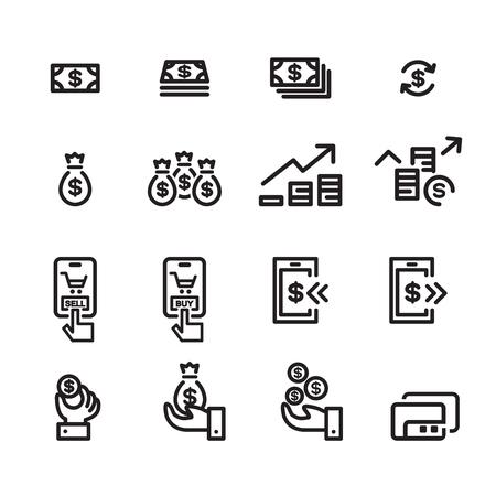 money line icon set Ilustrace