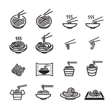 jeu d'icônes de nouilles