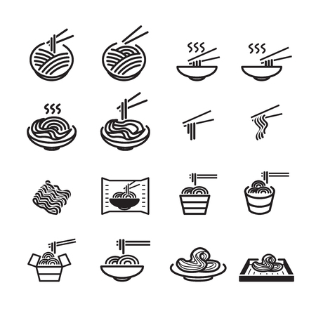 noodles icon set Vectores