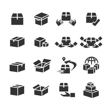 shopping online and box icon set2 Illustration