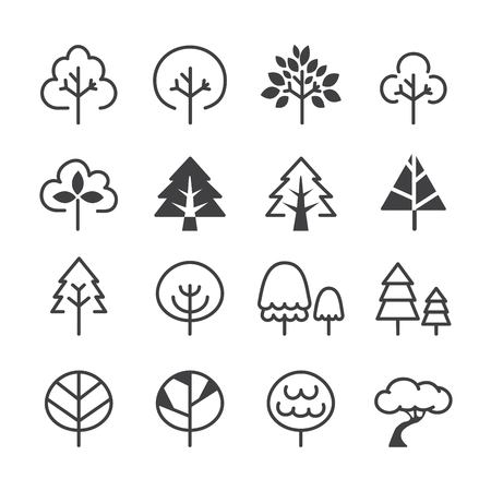 tree line icon set. vector eps 10