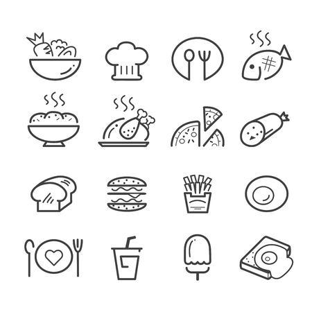 food line icon set.vector eps 10 Illustration