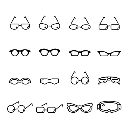 glasses line icon set