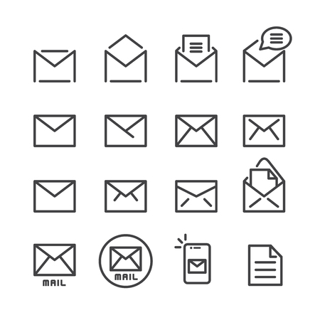mail line icon set Vectores