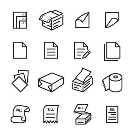 paper line icon set Illustration