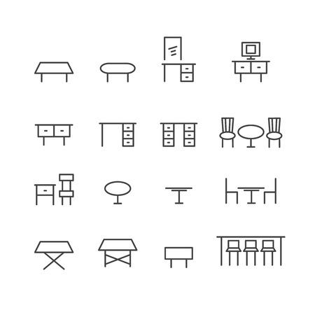 table line icon set Illustration