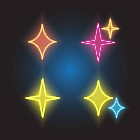 sparkles line neon icon set Illustration
