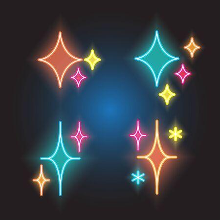 sparkles line neon icon set Ilustrace