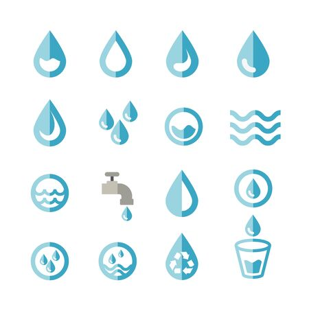 water flat icon. set of design element.
