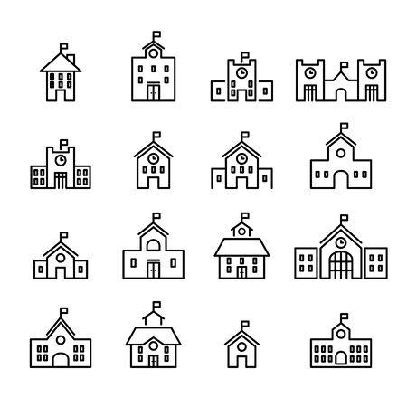 school building line icon. set of design element