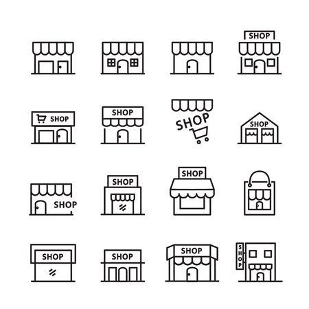 shop building line icon. set of design element