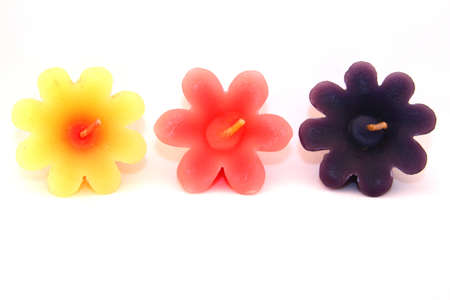 Colorful Flower Candles Stock Photo