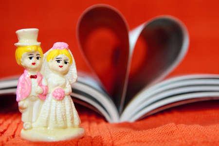 Wedding  couple model  and heart book Stock Photo