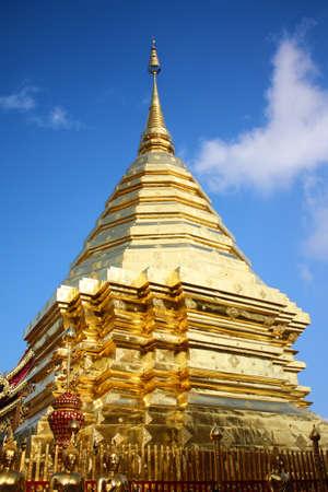 Golden pagoda  at Doi Suthep temple in Thailand Stock Photo