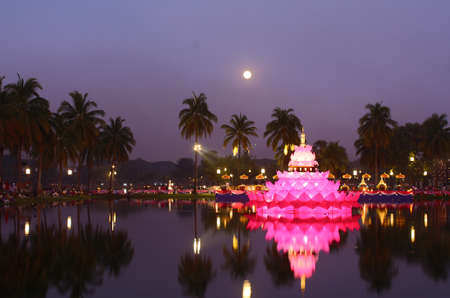 Loy Krathong Festival at Sukhothai in Thailand