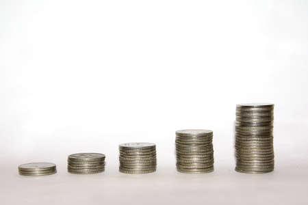 Silver Money Coin Stacks Stock Photo