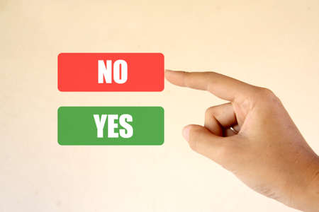Hand and buttons Yes/No (Choose no) Stock Photo - 11781271