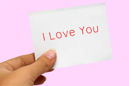 Hand showing a I love you card Stock Photo