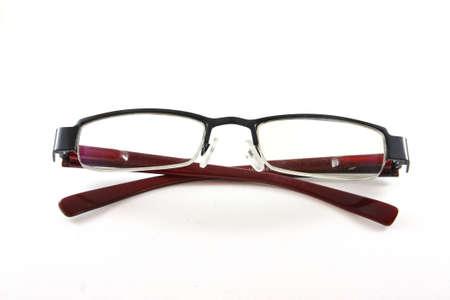 gafas de lectura: Dispositivo de lentes �pticas aislar Foto de archivo