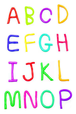 Plasticine alphabet  a-p  Stock Photo