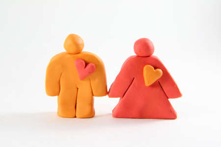 Couple concept from plasticine. Husband and wife Stock Photo