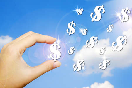 Hand and money symbol on blue sky background