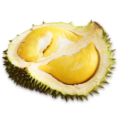 Durian isolated on white background. The king of fruit