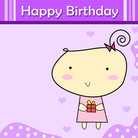 Happy birthday greeting card. Little girl holding gift. Stock Photo - 13895586